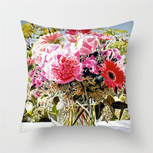 Fuwatacchi Flowers Oil Painting Cushion Cover Rose Sunflower Printed Pillow for Home Chair Decorative Pillowsases 45x45cm