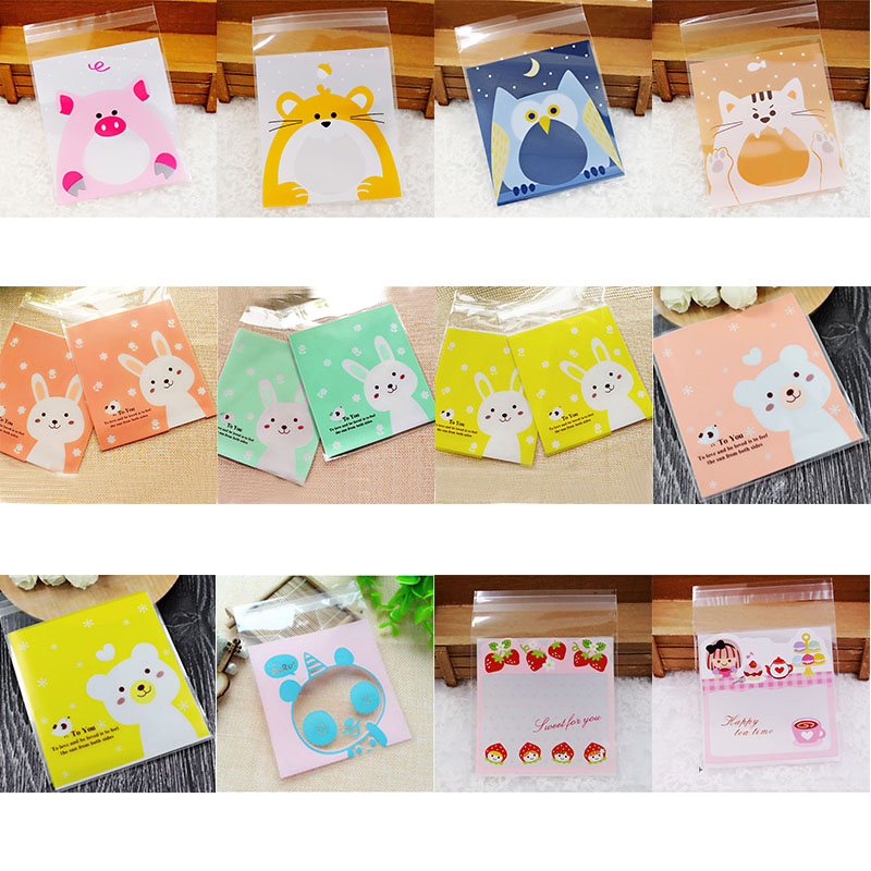 50P 10*10cm Cute Animals Candy Biscuits Cookies Packaging Bags Self Adhesive Plastic Gifts Bags Party Birthday Wedding Decor