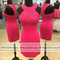 New 2016 Fuchsia Short Cocktail Dress Real Simple O Neckline Cap Sleeve Sheath Knee Length Lace Chiffon Women Party Dresses