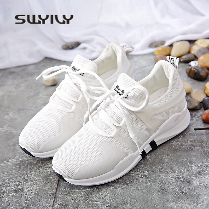 SWYIVY woman sneakers ,white breathable 2018 gift shoes woman sneakers Shoes spring summer women flat casual shoes comfortable swyivy women sneakers light weight 2018 41 woman casual shoes slip on lazy shoes comfortable candy color breathable net shoe