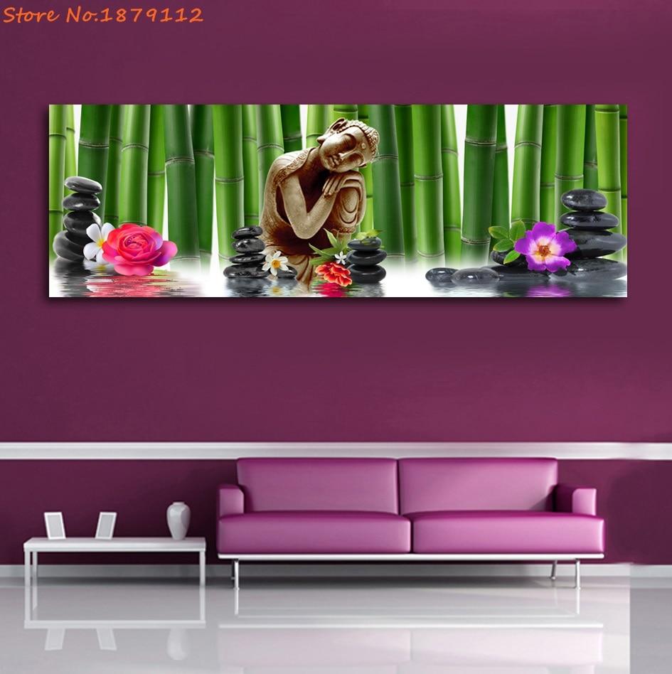 Relaxant Bouddha Fleur De Bambou Sans Cadre Peintures 5 Panneaux HD ...