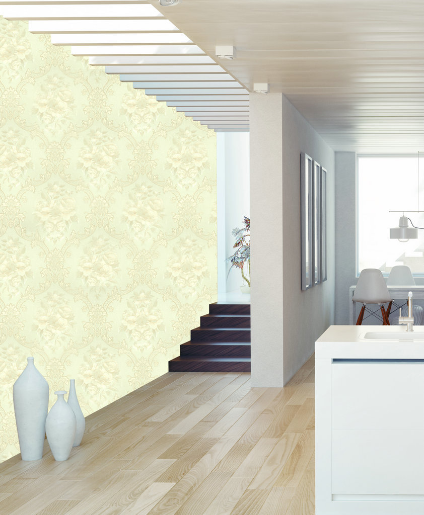 New Brand 5M Roll Luxury Vintage Classic White Damask on Yellow Lines Backgound Wallpaper недорого