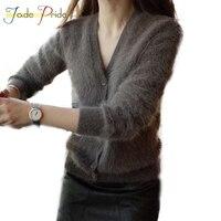 Jade гордость реального норки кашемир Регулярный свитер 2017 осень-зима теплая v-образным вырезом Кардиганы для женщин натуральный серый длинн...