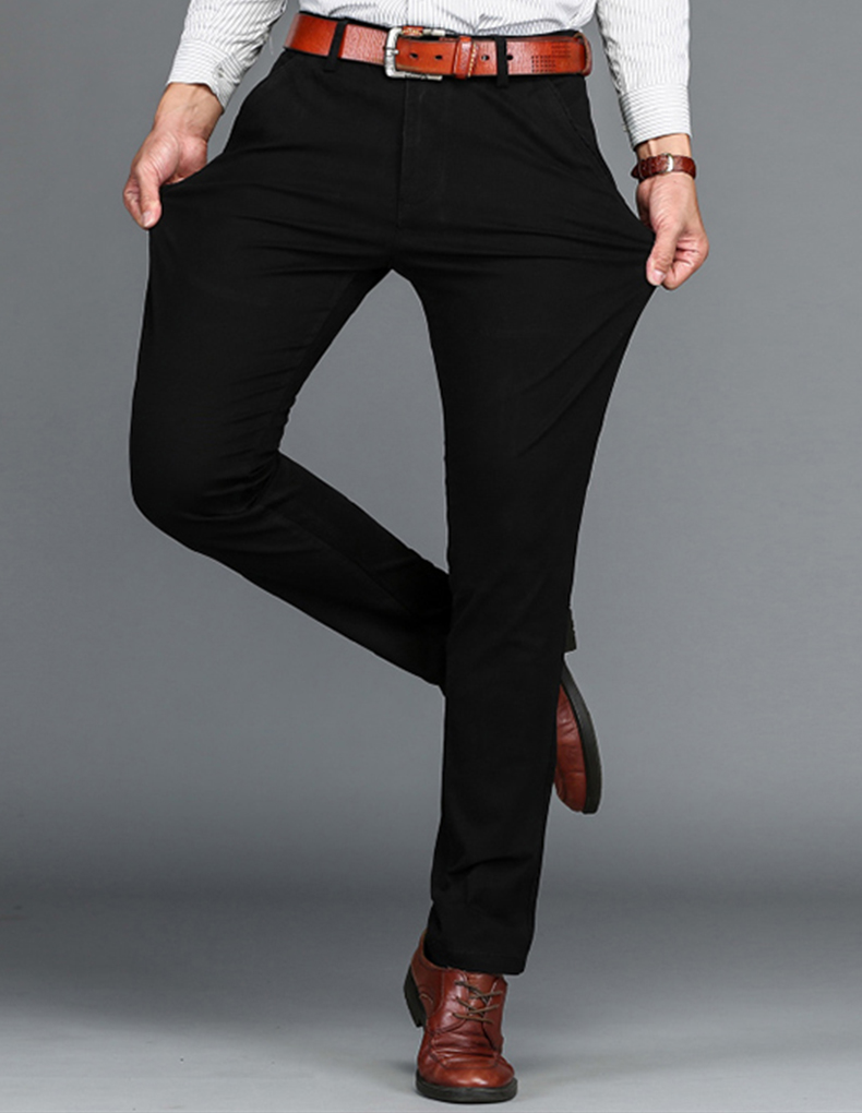 HTB1qUK8aL6TBKNjSZJiq6zKVFXaZ VOMINT Mens Pants High Quality Cotton Casual Pants Stretch male trousers man long Straight 4 color Plus size pant suit 42 44 46