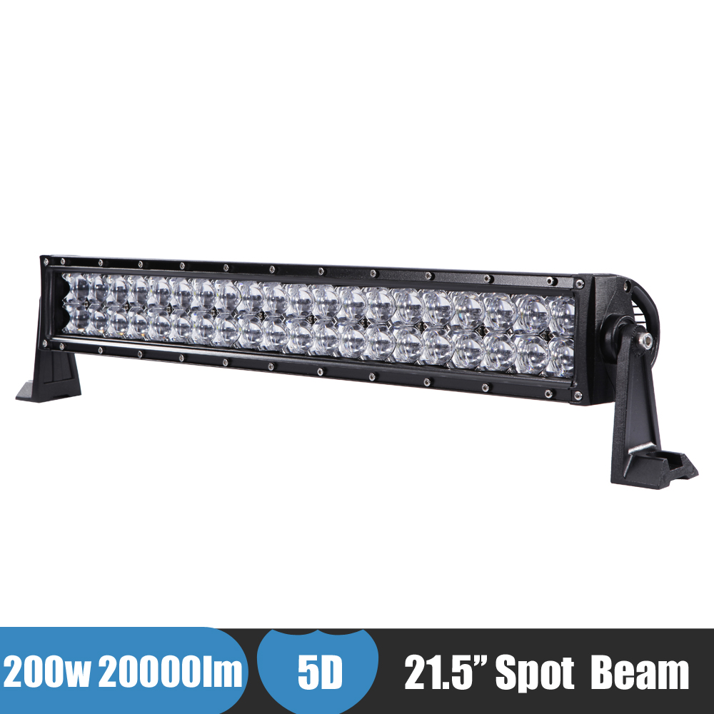 200W 22'' Car LED Light 5D Lens Spot Beam Offroad LED Bar Work Light 12v 24v Suv ATV Pickup Van Camper Wagon LED Driving Light 3 led car spot light