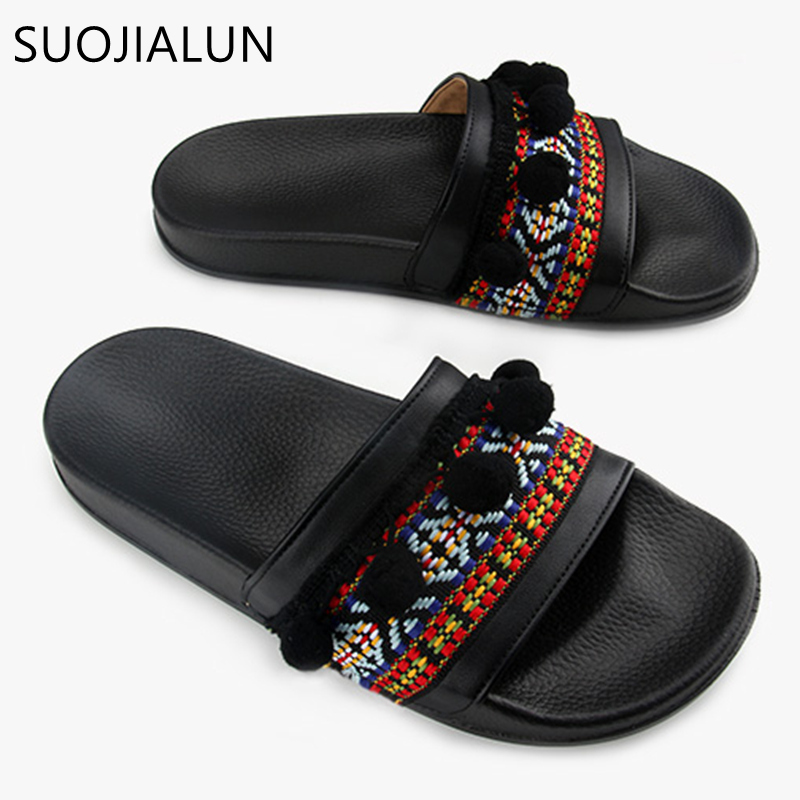 SUOJIALUN Women Slippers Female Summer Beach Ladies Sandals Fashion Brand Fringe Slip On Slides Flip Flops Slippers 34 43 big small size new 2016 summer fashion casual shoes moccasins bottom shoe platform flat for women s loafers ladies