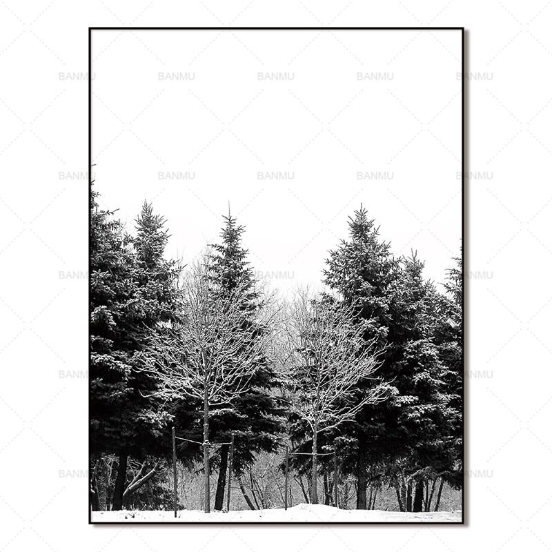 Skandinavia Musim Dingin Salju Hutan Pohon Nordic Abstrak Gambar - Dekorasi rumah - Foto 6
