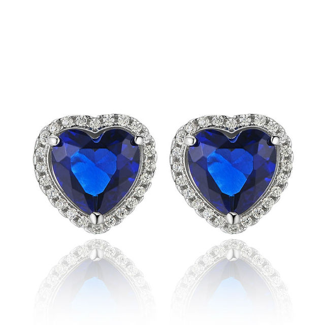 New 2.5 Ct Heart Shape 925 Sterling Silver Blue CZ Bridal Stud Earring Fashionable Jewelry For Women Free Shipping