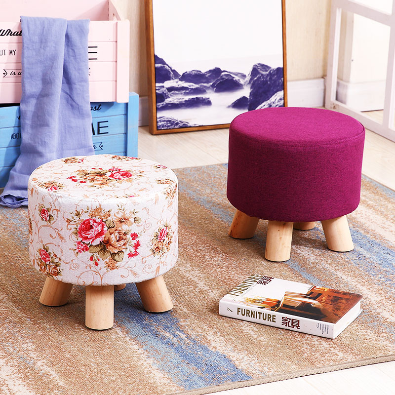 28x28cm Countryside Round Wood Stools Washable Taboret Bedroom Makeup Chair Home Furniture Footstool Dining Beach Pouf Ottoman