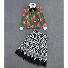 Autumn Runway Designer Clothing Set Women Long Sleeve Flower Green Printed Blouses + Geometry Printed Pleated Skirt Suit