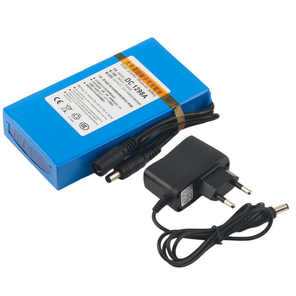 Prix pour Durable DC 12 V 9800 MAH Grande Capacité Super Puissant Rechargeable Li-ion Batterie De Secours Li-ion Batterie Pour Caméra UE/US PLUG