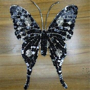 Ropa mujer camisa Top Diy parche grande mariposa negro lentejuelas deal with it camiseta chicas parches para ropa pegatinas de animales