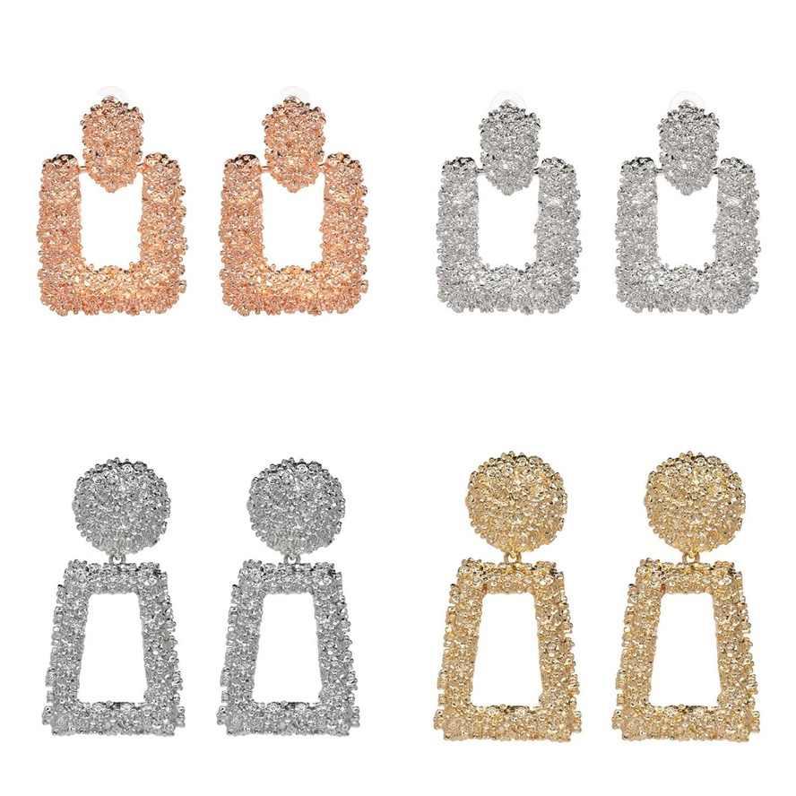 2018 ZA Statement Geometry Metal Dangle Earrings For Women Fashion Bohemian Square Gold Drop Earrings Jewelry Accessories gift