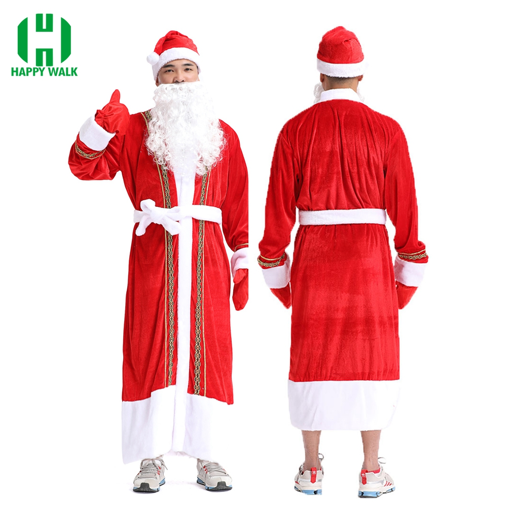 Christmas Santa Claus Costume Men Cosplay Santa Claus Clothes Fancy Dress In Christmas Xmas 5 In 1 Women Costume Suit For Adult