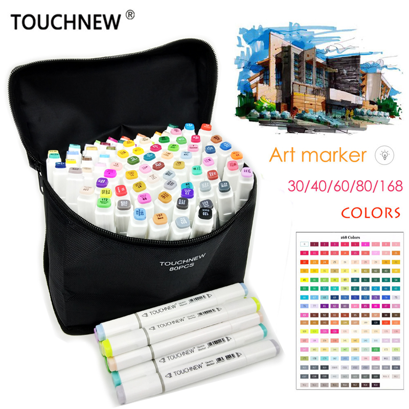 TOUCHNEW 30/40/60/80/168 Colors Artist Dual Headed Art Marker Set Manga Design School Drawing Sketch Markers Pen Art Supplies touchnew 30 40 60 80 168 colors artist dual headed marker set manga design school drawing sketch markers pen art supplies