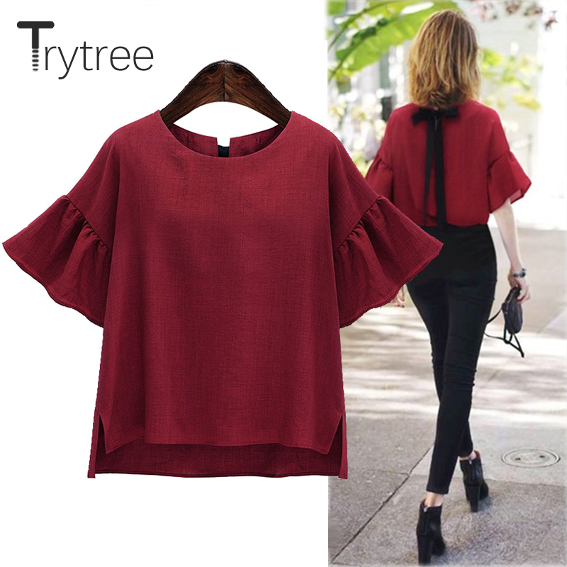 Trytree Spring Summer Women Blouse Casual Polyester shirt office lady Red Solid