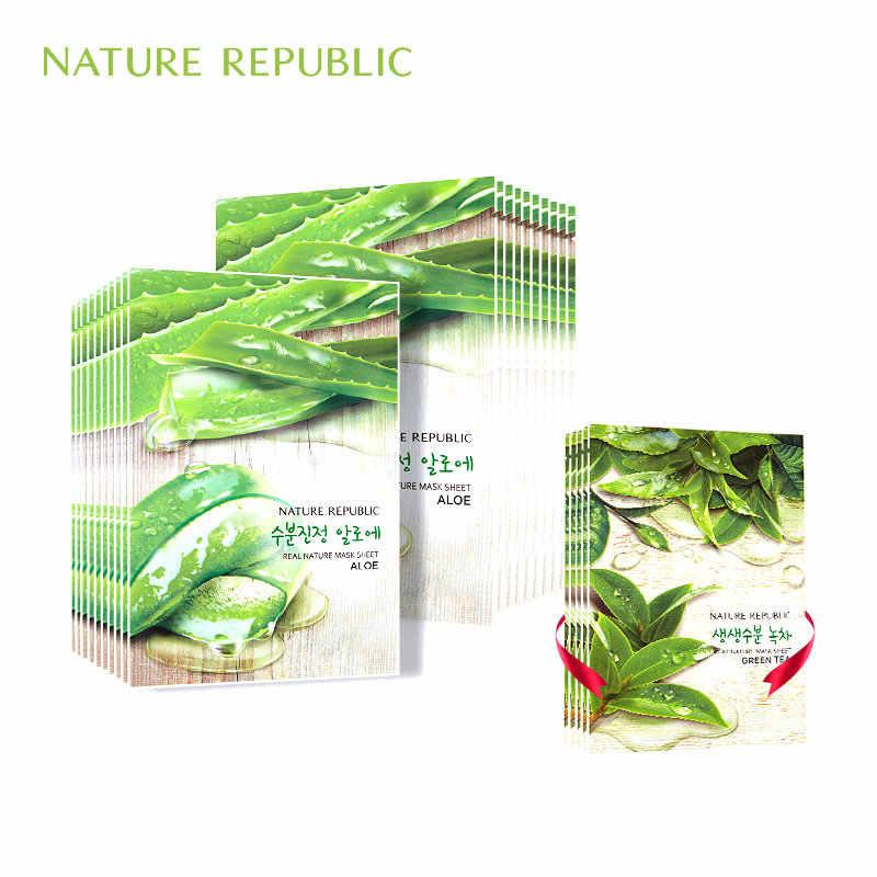 Natura Repubblica di Aloe Copriletto Viso Maschera Idratante Maschera Per il Viso il Controllo del Petrolio Sbiancamento Ridurre I Pori Coreano Viso Maschera