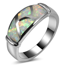 Hot Sale Exquisite White Fire Opal 925 Sterling Silver High Quantity Engagement Wedding Ring Size 5 6 7 8 9 10 11 A166