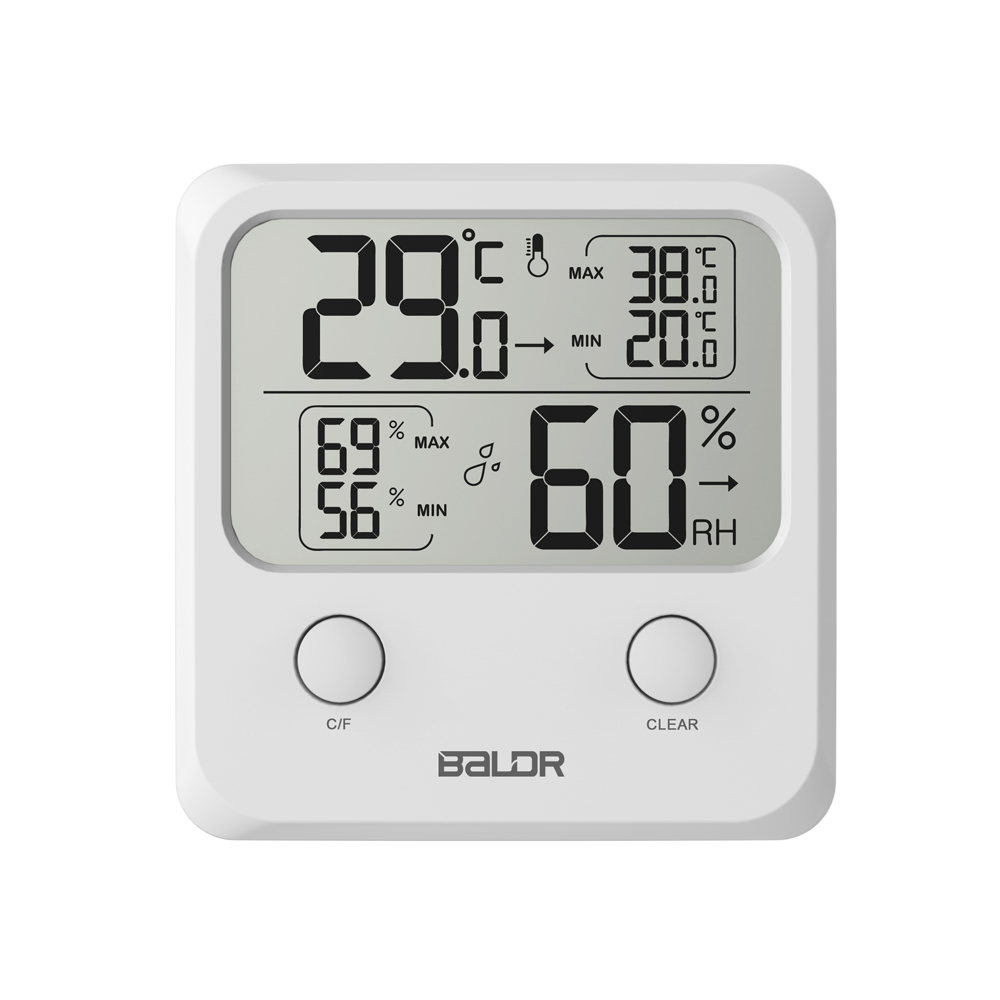 Baldr Mini Digital LCD Thermometer Hygrometer Electronic Temperature Wall Humidity Indooor Mini Meter With Stand