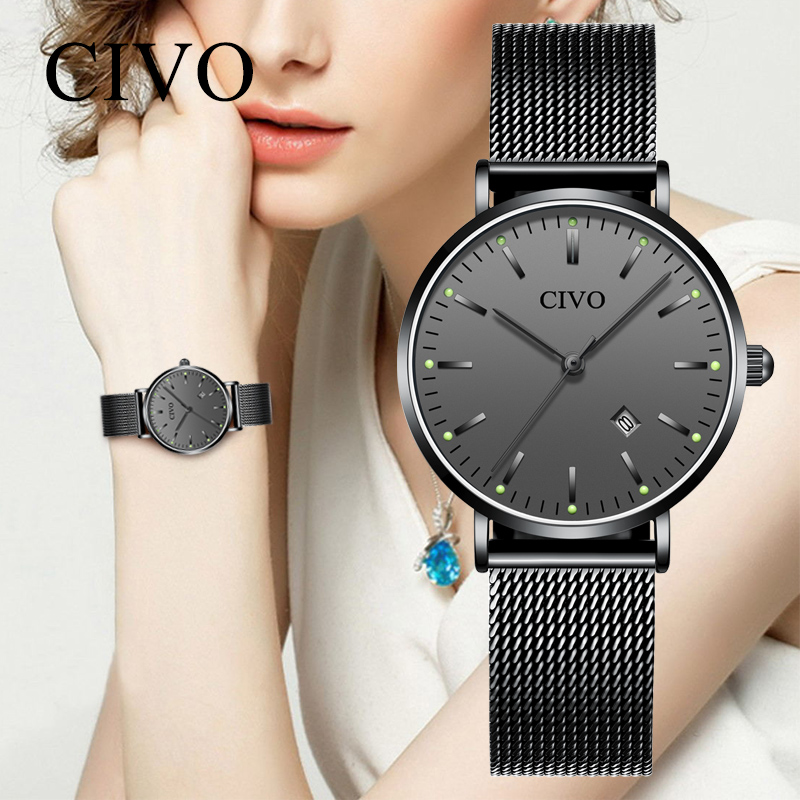 CIVO Fashion Casual Women Watch Ultra-thin Waterproof Luminous Hands Ladies Watches Black Steel Mesh Couple Wristwatch Clock