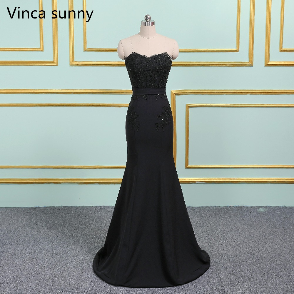Vinca sunny Black Pink Lace Appliques Backless Mermaid Bridesmaid ...