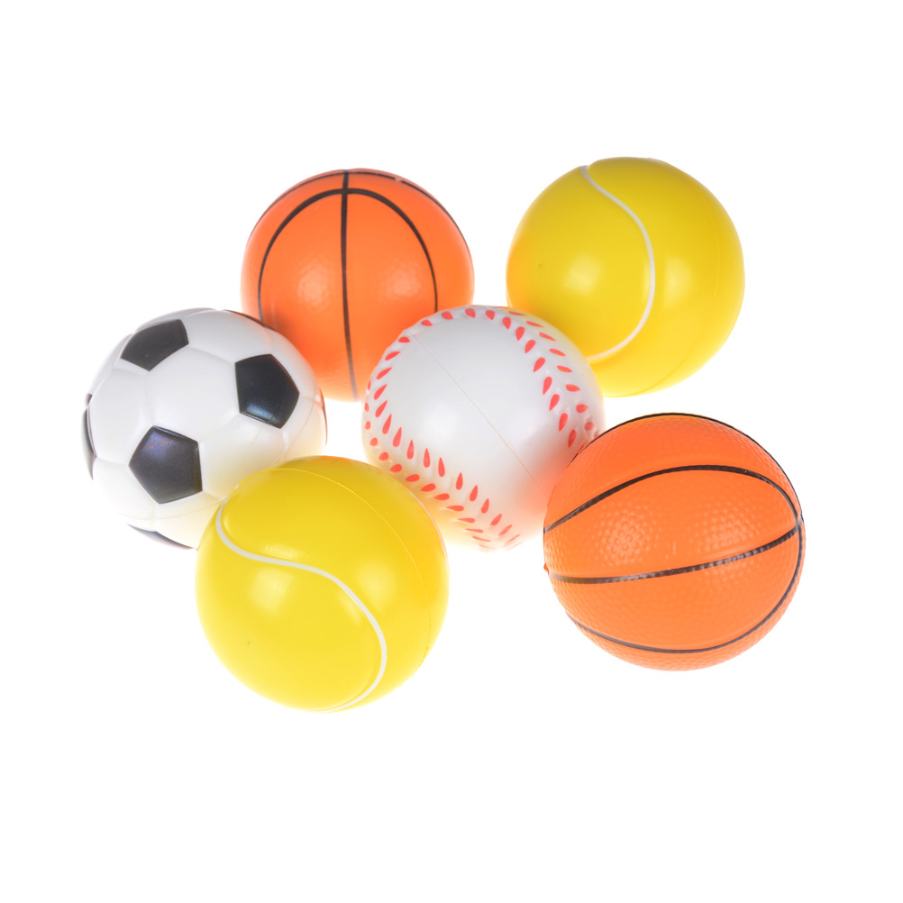 Anti Stress 10cm Hand Wrist Exercise PU Rubber Toy Balls Football Basketball Sponge Foam Squeeze Stress Relief Toy