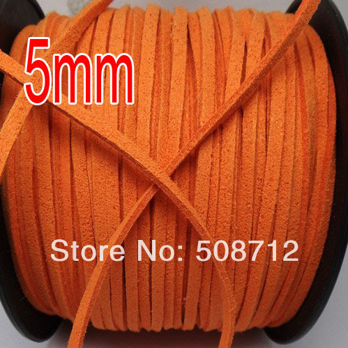 Free Shipping!!! 100yard/roll 5mm orange Color Jewelry Suede Leather Cord /Soft Velvet Korea Frosting Cord