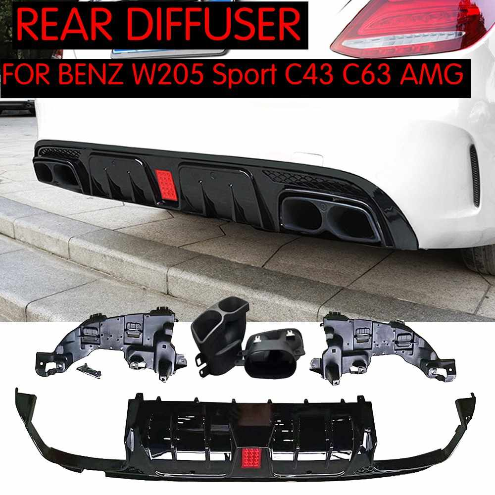 For C63 AMG Diffuser with exhaust tips for Mercedes Benz