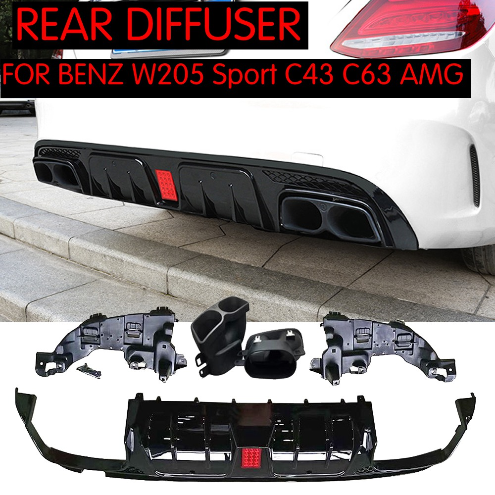 For W205 Rear Bumper diffuser with Exhaust tips for Benz W205 Sedan C200 C250 C300 C350 C400 C43 AMG C63 AMG S 2014 2019