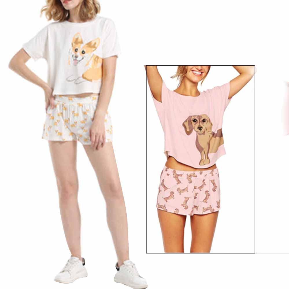 Womens   Pajama     Set   Dachshund Pug Corgi Chihuahua German Shepherd Dog Crop Top Shorts Elastic Waist Loose Pyjamas Lady Sleepwear