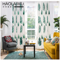 Free Shipping 140cm Width By 260cm Height Tropical Green Leaf Modern 3d Curtains For Living Room