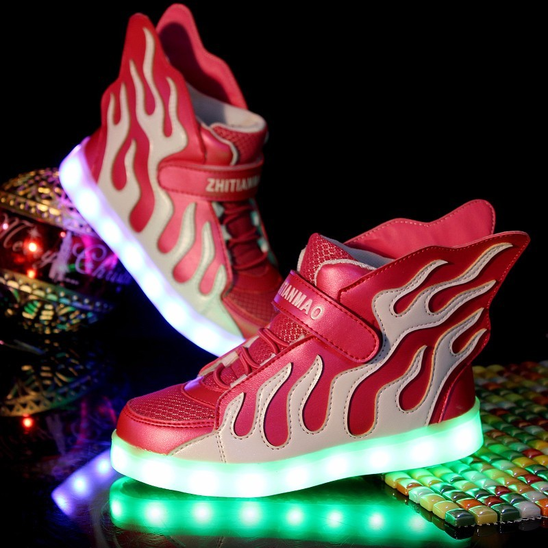 2017 Hot Kids Shoes USB Charger Boys Girls Glowing Sneakers LED Light Sneakers Casual Flat Shoes for Children zapatillas led children usb charger luminous shoes lace boys girls led light sneakers fashion kids night show casual shoes brand