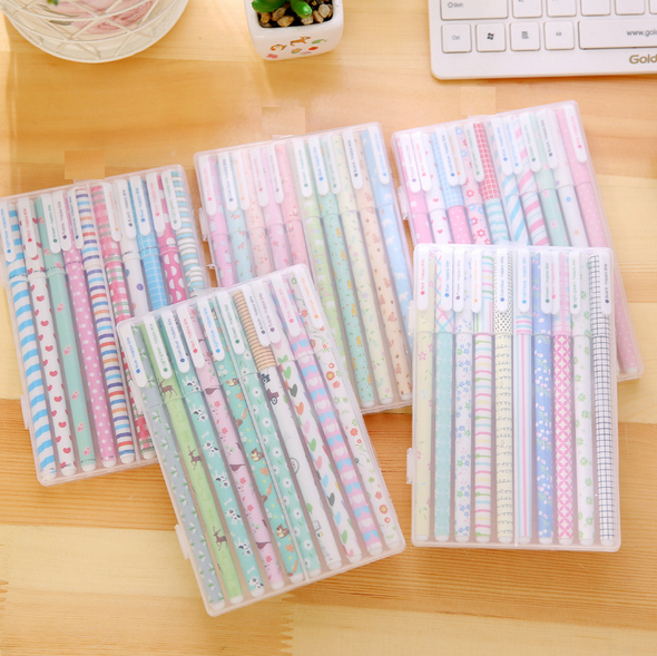 10PCS/Lot Kawaii Colorful Life Series color Gel Pen with PVC Box  nice gift office school Stationery supplies 5 style for choose