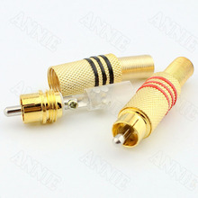 10pcs/lot Store Promoting Gold Plated RCA Socket Solderless Jack Audio And Video Plug