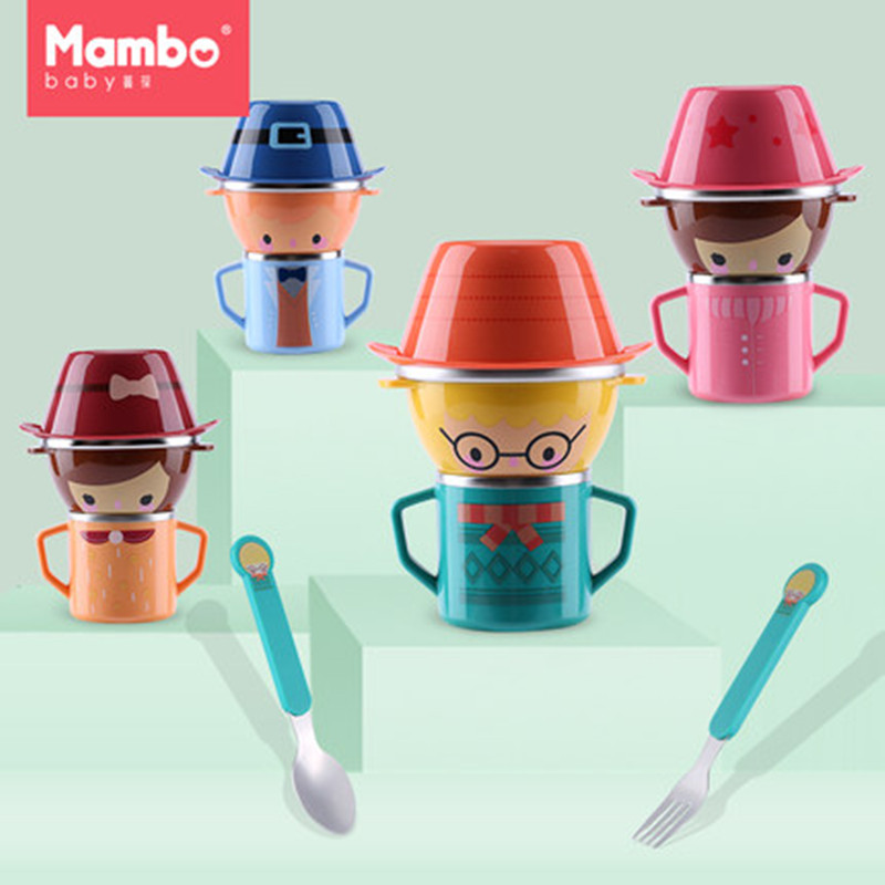 Cartoon Child Plate Tableware Dishware Dinnerware Set Stainless steel Infant Food Bowl Cup Feeding Dinner Fork Spoon for Kids