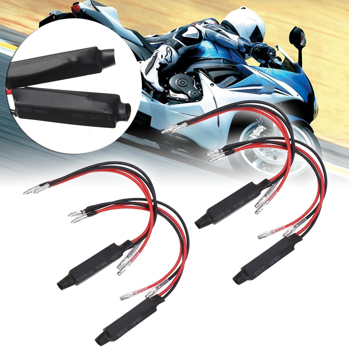 Mayitr 4PCS 12V Black Universal Motorcycle LED Turn Signal Indicator Resistor Adaptor Moto Blinker Adapter LED Load Resistor