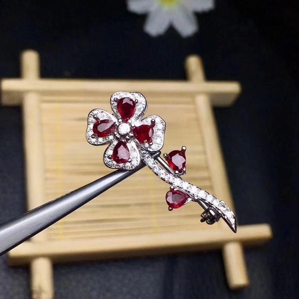 Bloem Real En Natuurlijke Ruby broche Gratis verzending Natuurlijke echte Robijn 925 sterling zilveren broche Bloem
