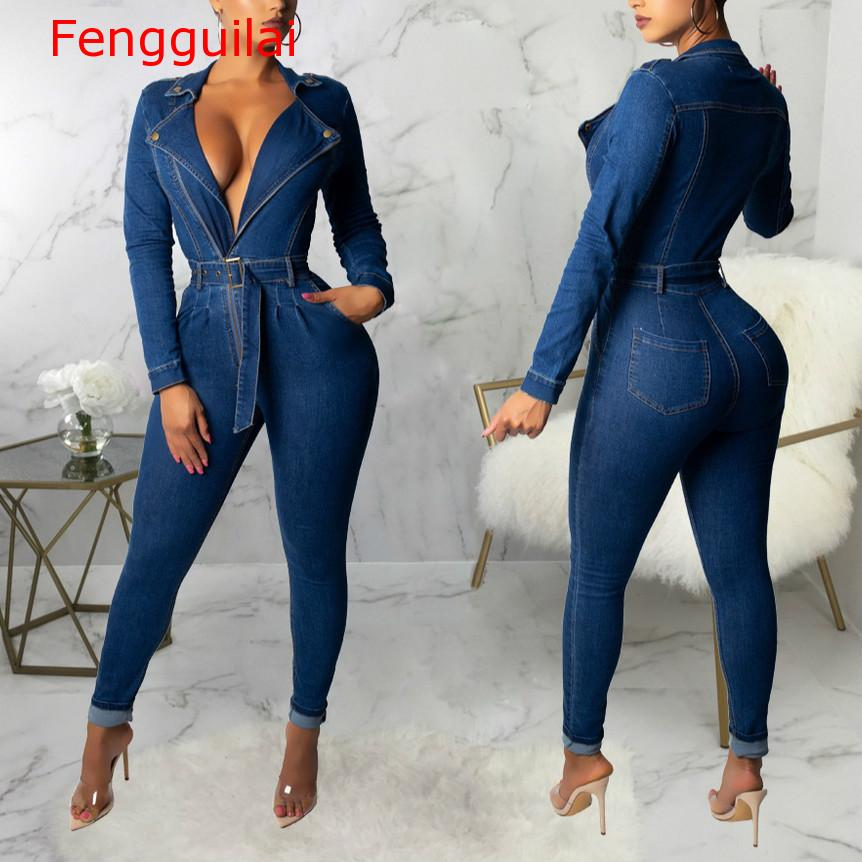 Fengguilai Sexy Women Square Collar Long Sleeve Bodycon Casual Denim Jumpsuit Elegant Stretch Jeans Romper Ovralls