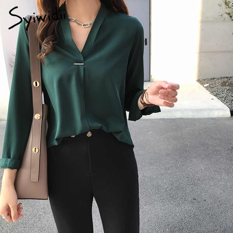 c69e728df3a5 Detail Feedback Questions about green chiffon women blouses plus size top  4XL solid womens clothing shirts korean fashion 2019 spring Full harajuku  hot sale ...