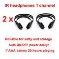 2 unids Stereo Headset Auriculares Inalámbricos Infrarrojos IR en el techo Del Coche dvd o Reproductor de dvd reposacabezas auricular de un solo canal
