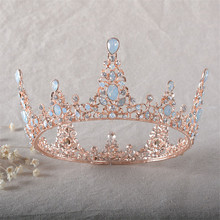 Snuoy Baroque Wedding Pageant Queen Crown Bridal Hair Jewelry Diadem Vintage Large Crystal Full Round Prom King Crown HG769