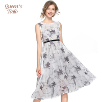 Queen S Tailo Fashion Woman Plus Size 5XL New Summer Sleeveless Ink Printing Midi Casual Dress