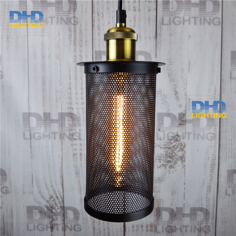 ФОТО Free shipping D100mmxH200mm black iron long cage industrial pendant lamp vintage brass socket lighting fixtures for home