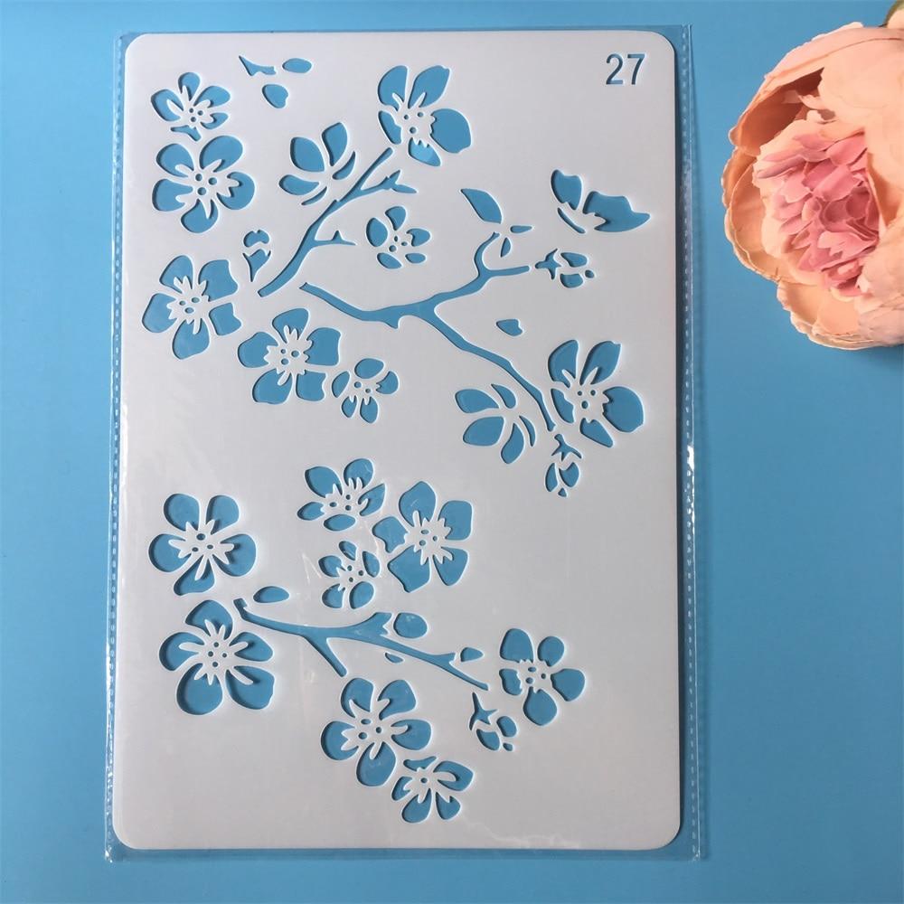 26cm Flower Branch DIY Craft Layering Stencils Painting Scrapbooking Stamping Embossing Album Paper Template