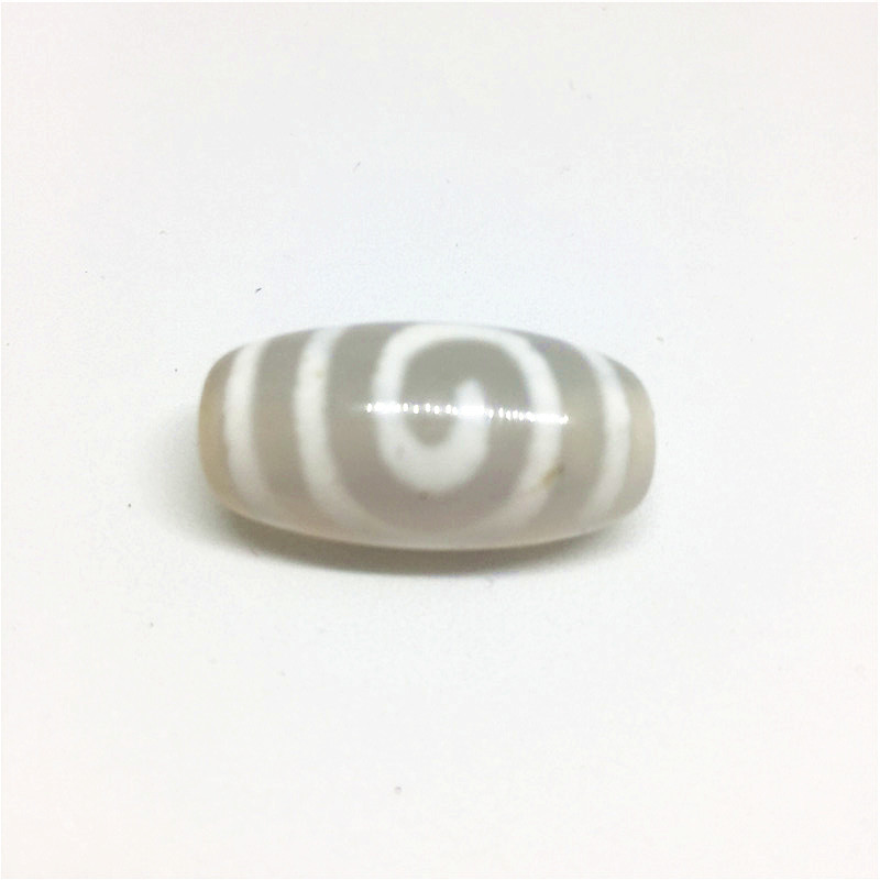 Rare Patterns Spiral 11mm*24mm White Color Natural Agate Amulet Tibetan Dzi Beads for Bracelet DIY Jewelry Making