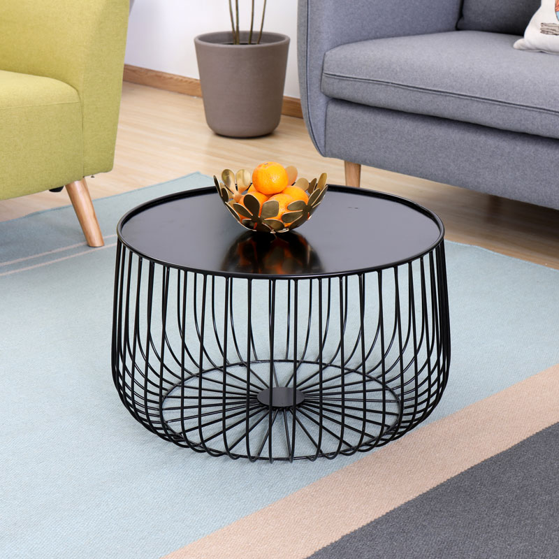 petite table a the en forme de citrouille design moderne et minimaliste en fer noir meuble de salon en metal bout de cafe