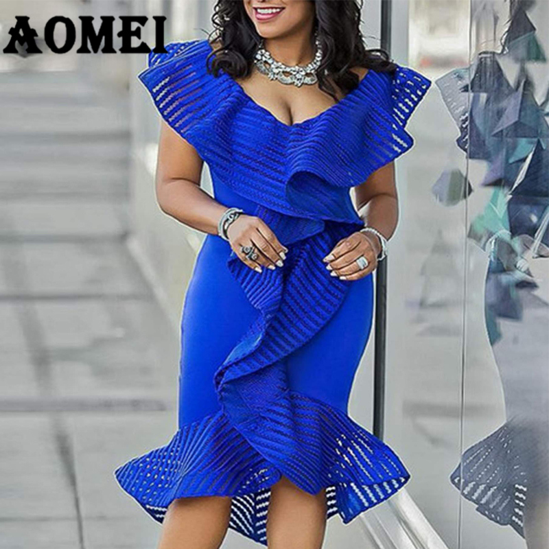 Women Party Blue Dress Sexy Ruffle Patchwork Tulle Lady Clubwear Dinner Evening Plus Size Slim Bodycon Tunic Femme Robes XXL