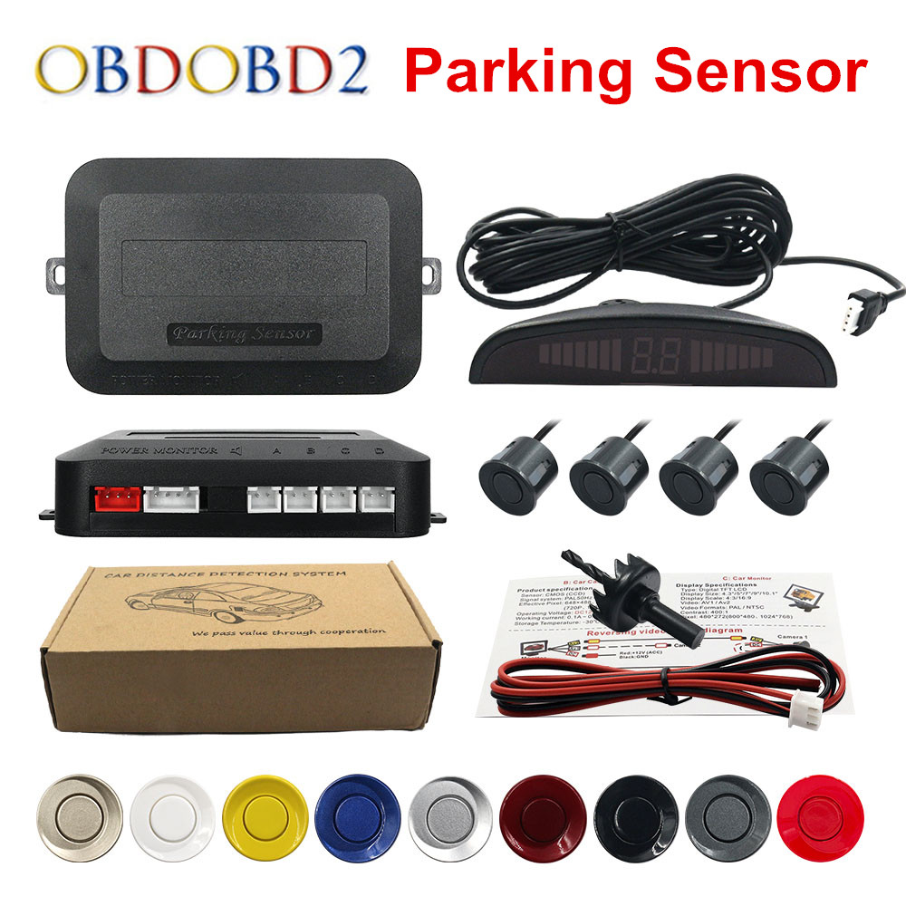 Best Quality Car LED Reverse Backup Radar LED Display Double CPU Parking Sensor Kit Black/Red/White/Silver 8 Colors & 4 Sensors parking sensors 39680 shj a61 for honda crv black white silver free shipping auto sensors ultrasonic sensor car sensor