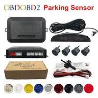 Melhor qualidade carro led reverso backup radar display led duplo cpu kit sensor de estacionamento preto/vermelho/branco/prata 8 cores & 4 sensores