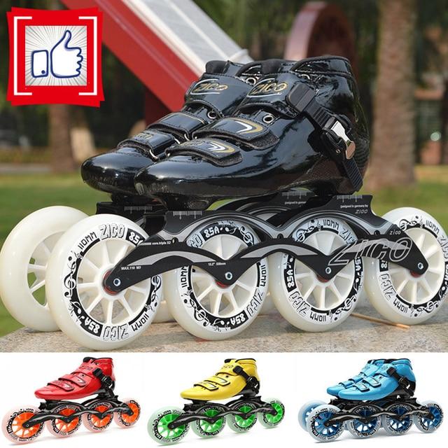 2-capas de fibra de carbono en línea velocidad patines adultos niños  Alphalt calle zapatos f2630cfc8ad